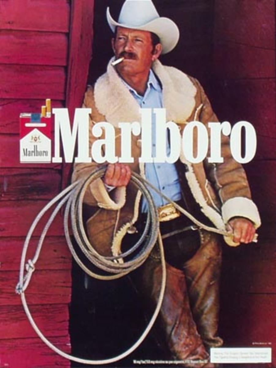 Marlboro Cigarette Cowboy Original Vintage Advertising Poster horizontal blue slicker