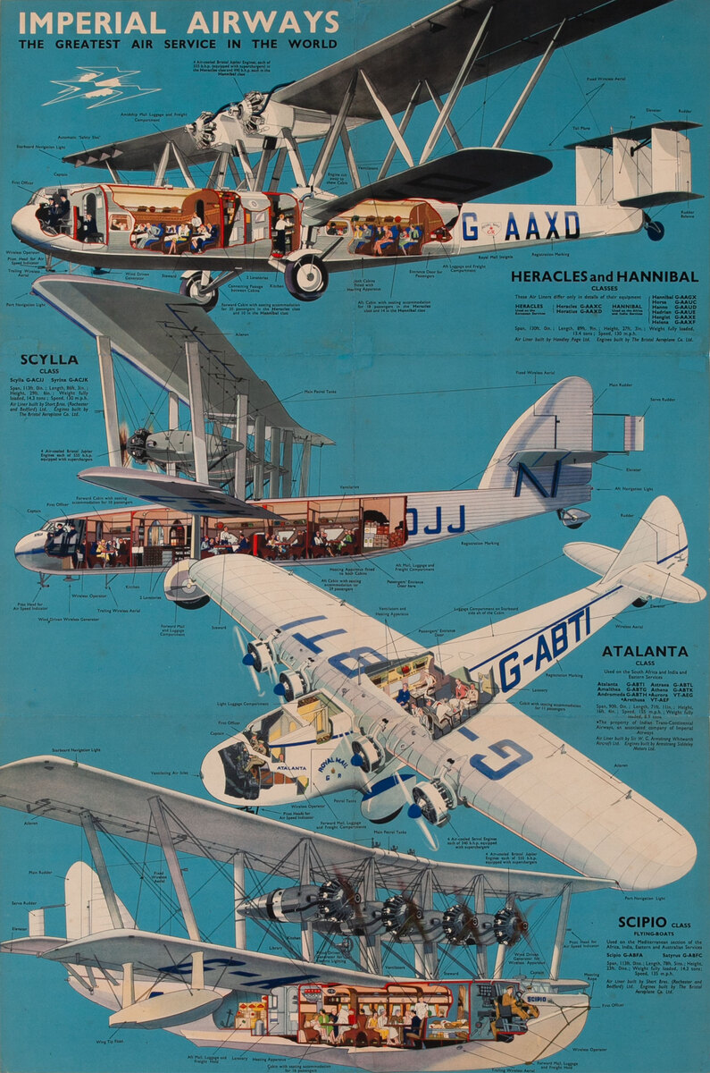 Imperial Airways The Greatest Air Service in the World Original Travel Poster Aircraft Cutaways