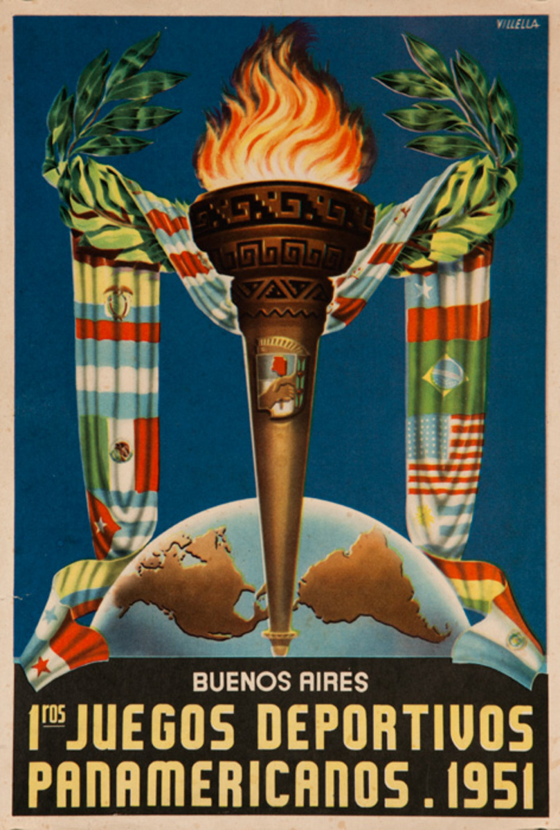 1st Juegos Deportivos Panamericanos, Buenos Aires First Pan American Games Original Sports Poster