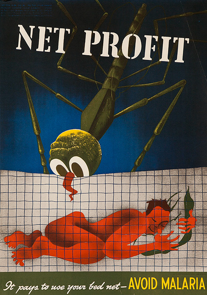 Net Profit, It Pays to Use Your Bed Net Avoid Malaria, Original American WWII Health Poster