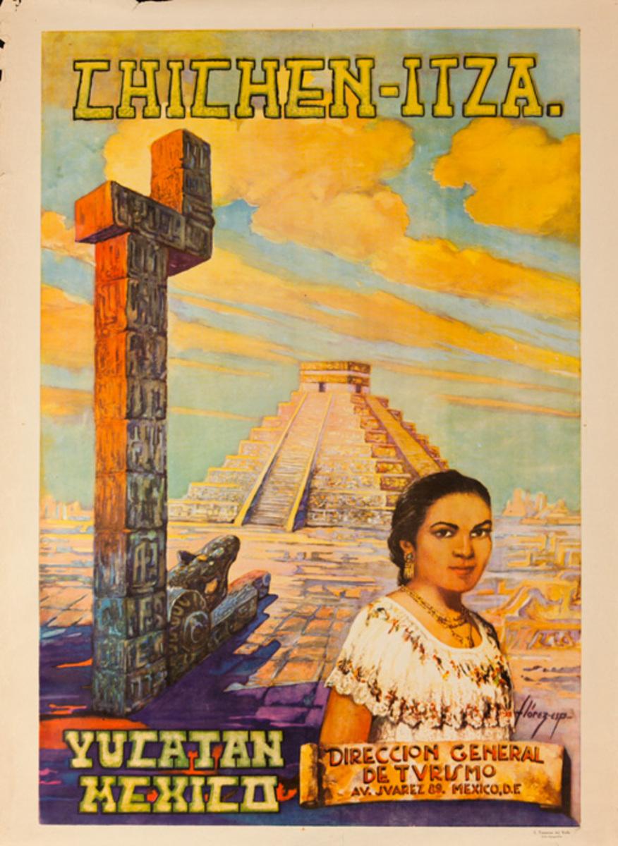 Chichen-Itza Original Yucatan Mexico Travel Poster