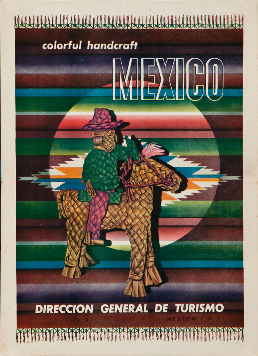 Colorful Handcraft Mexico Original Mexican Travel Poster