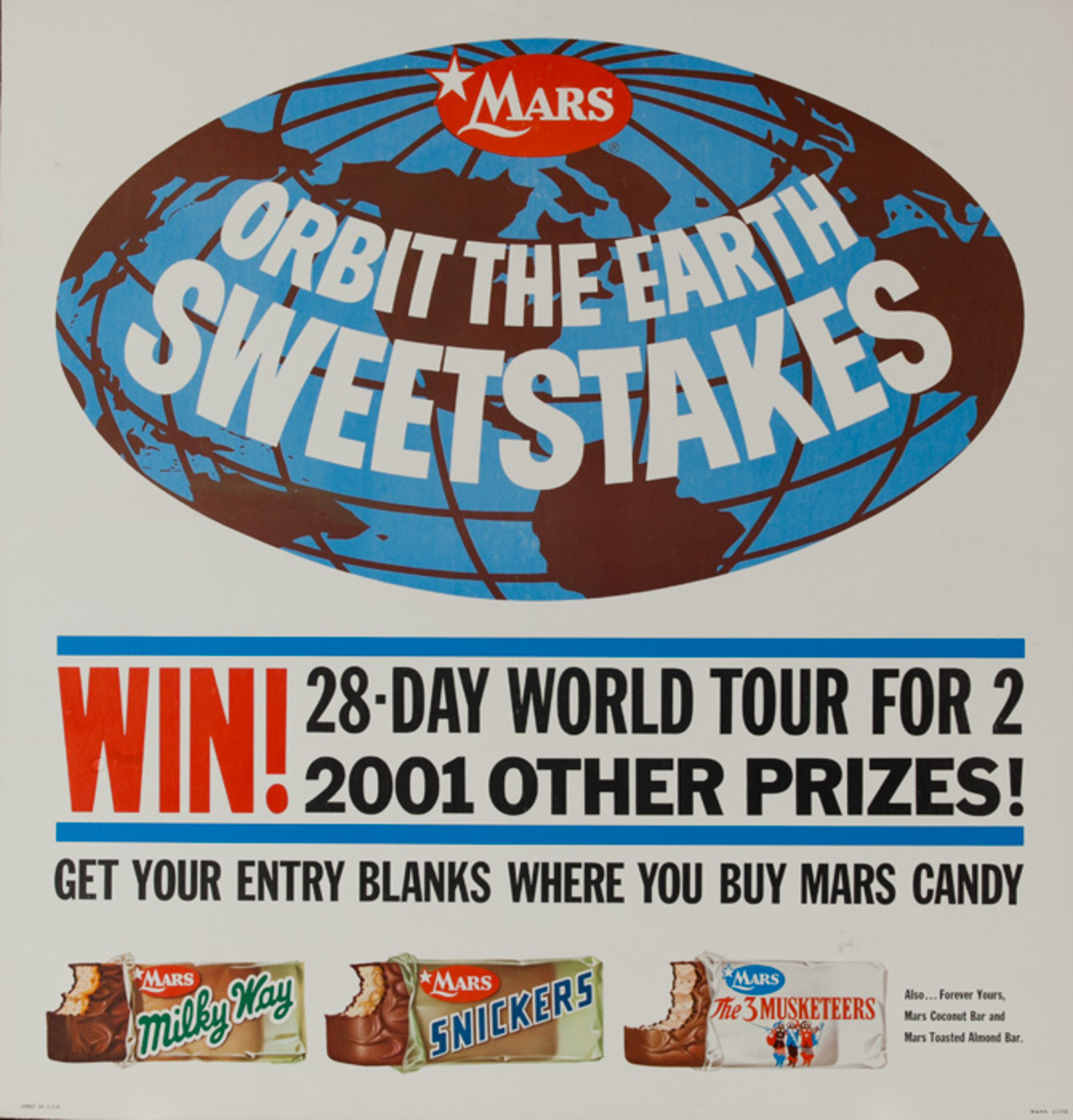 Mars Candy Original Advertising Poster, Orbit the Earth Sweepstakes