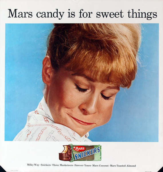 Mars Candy Original Advertising Poster, Mars Candy is for sweet things.