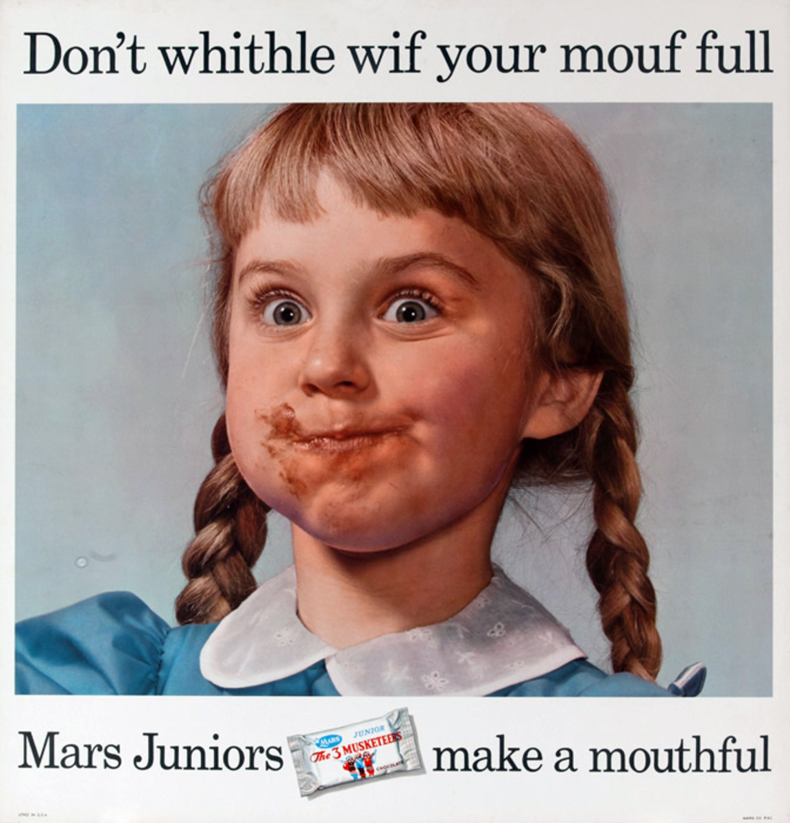 Mars Candy Original Advertising Poster, Don't Whithle wif your mouf full.