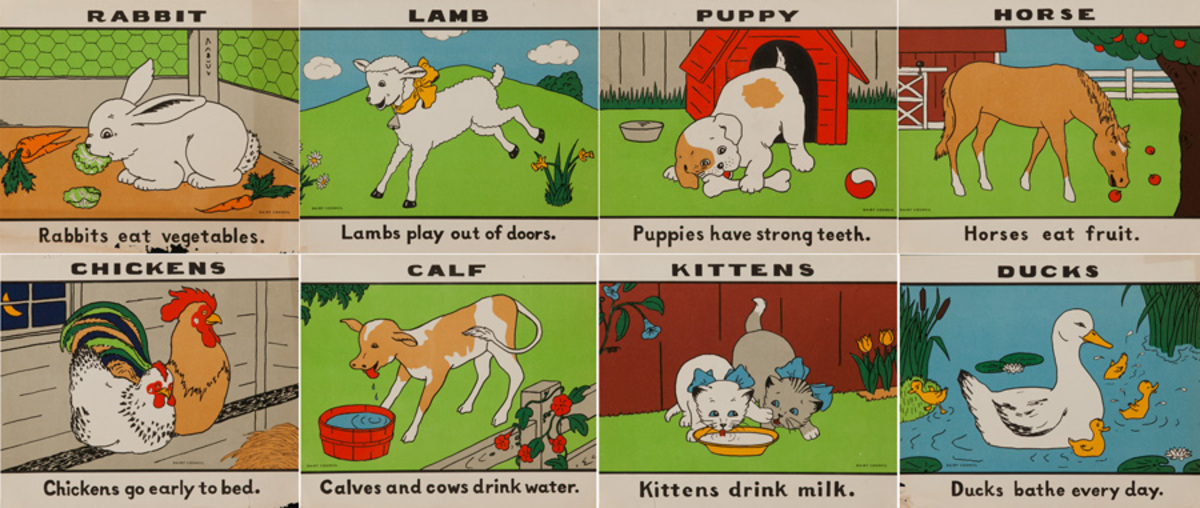 Original Set of Dairy Council Nutrition Prints Animals