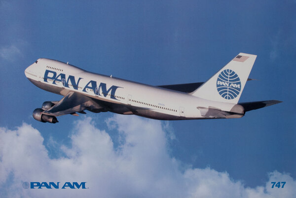 Pan Am Airlines Original Travel Poster 747 photo