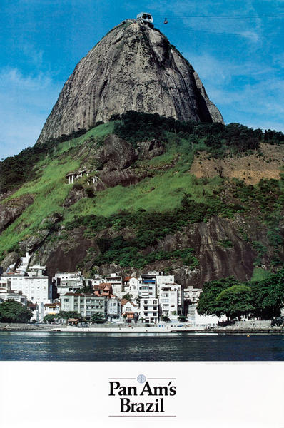 Pan Am Airlines Original Travel Poster, Brazil Sugarloaf Photo