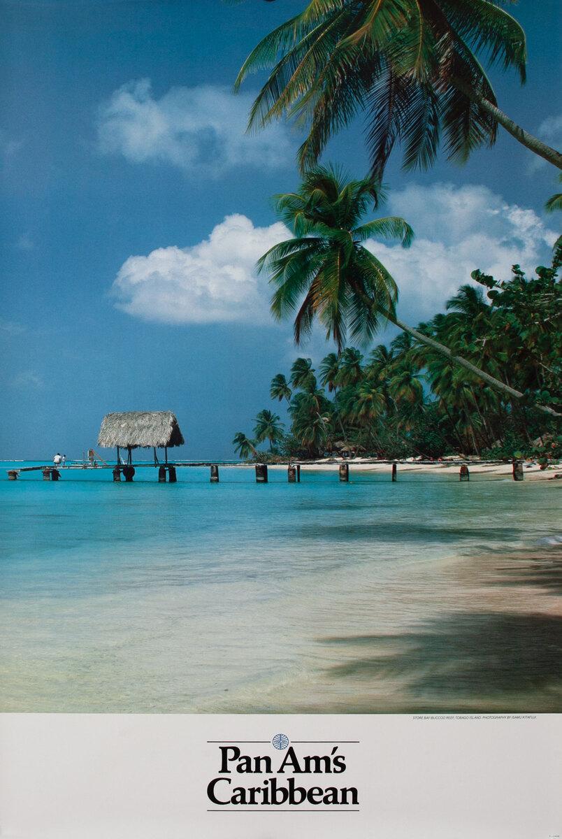 Pan Am Airlines Original Travel Poster, Caribbean Beach Photo