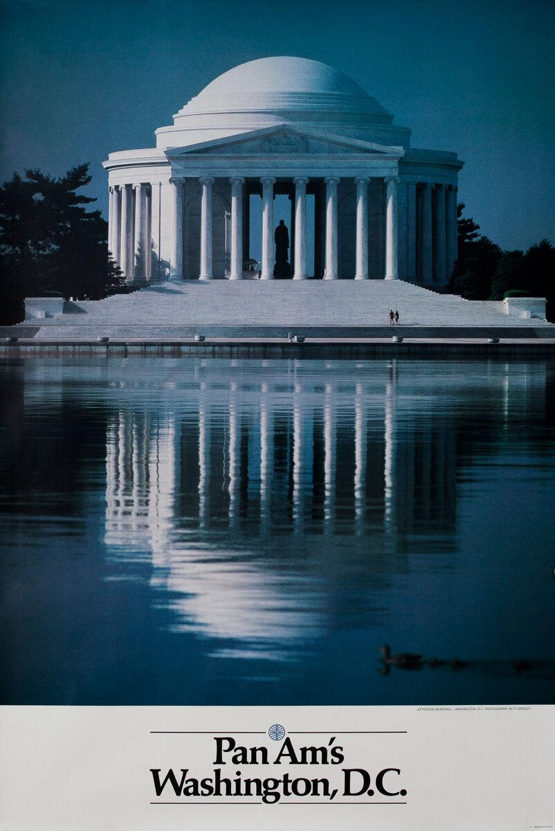 Pan Am Airlines Original Travel Poster, Washington DC Jefferson Monument