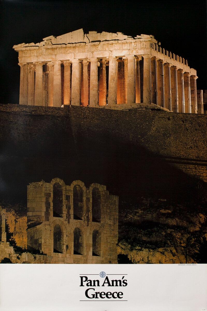 Pan Am Airlines Original Travel Poster, Athens Greece, Parthenon Photo
