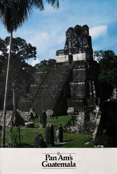 Pan Am Airlines Original Travel Poster, Guatemala Ruins Photo