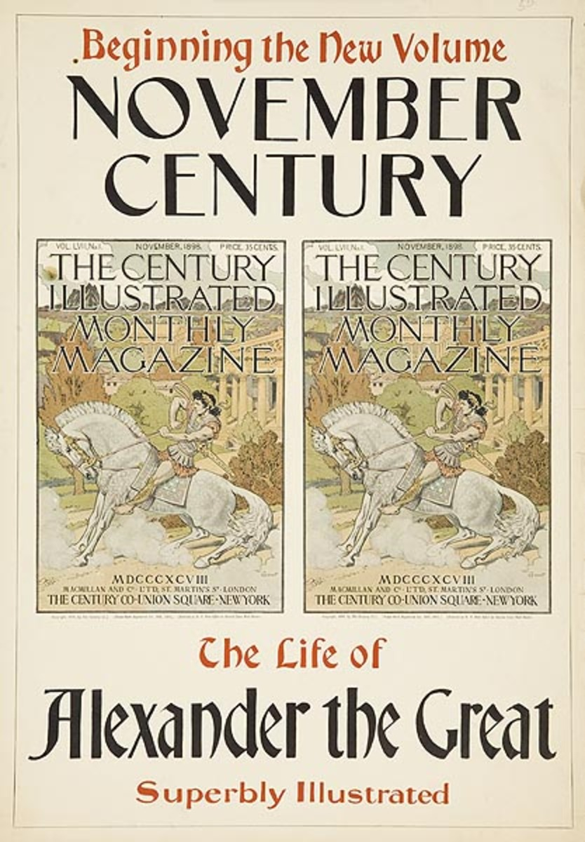 November 1898 Century Life of Alexander the Great Original American Literary Poster