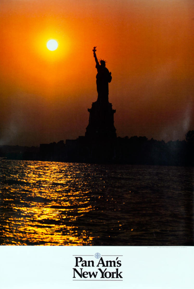 Pan Am Airlines Original Travel Poster, New York Statue of Liberty Sunset Photo