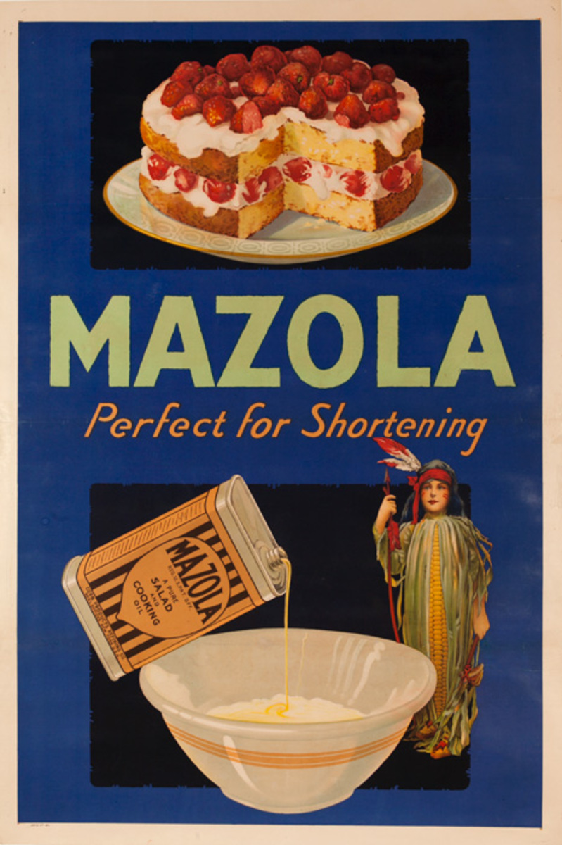 Mazola, Perfect for Shortening, Strawberry Shortcake, Original American Advertising Poster