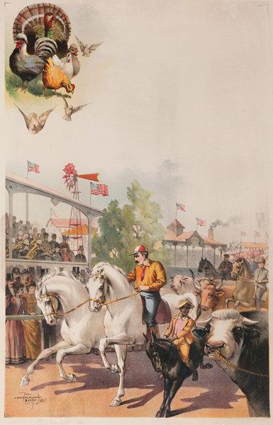 Original American Fair Poster Prize Race Horses, Young Black Jockey