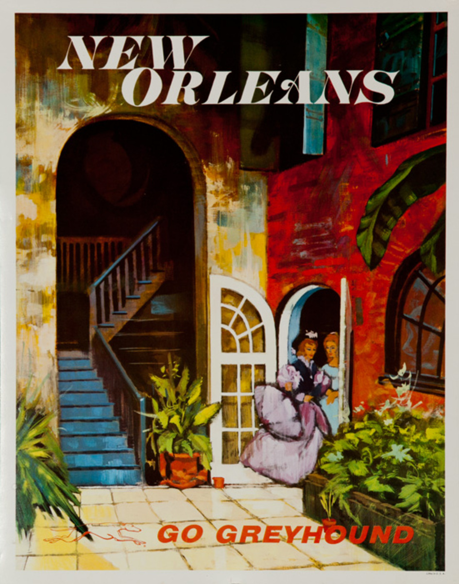 Greyhound Bus Lines Original Travel Poster, New Orleans small