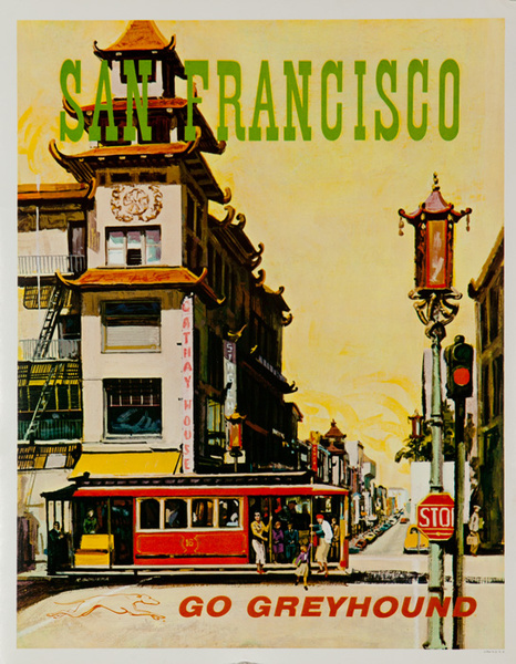 Greyhound Bus Lines Original Travel Poster San Francisco Cable Car small