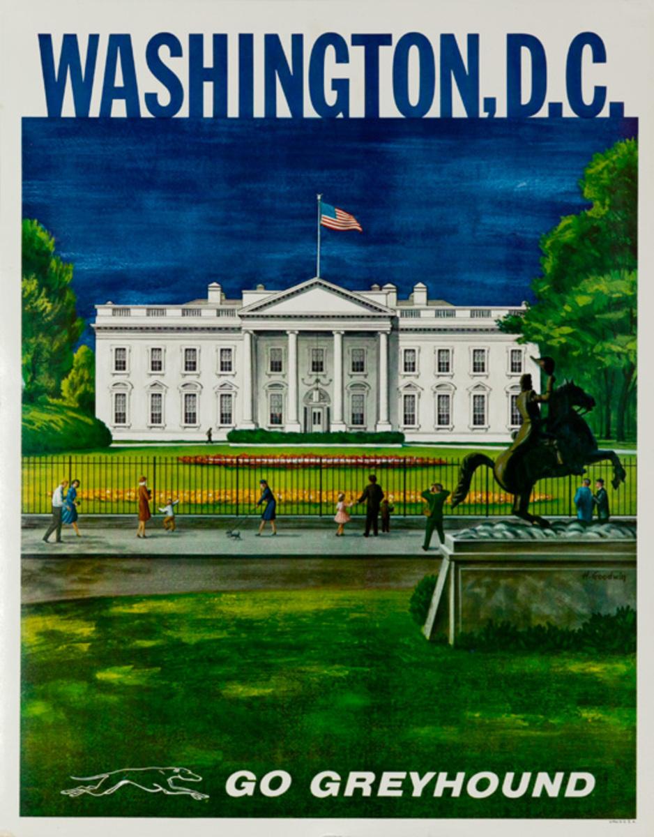Greyhound Bus Lines Original Travel Poster, Washington DC White House small