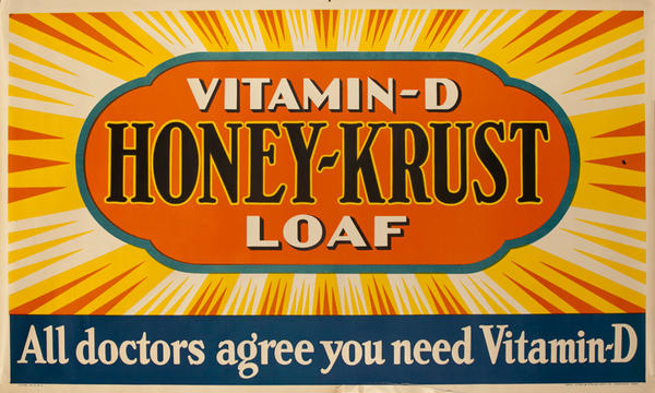 Vitamin-D Honey-Krust Loaf Bread Original American Advertising Poster