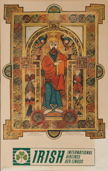 Aer Lingus Irish International Airlines Travel Poster The Book of Kells