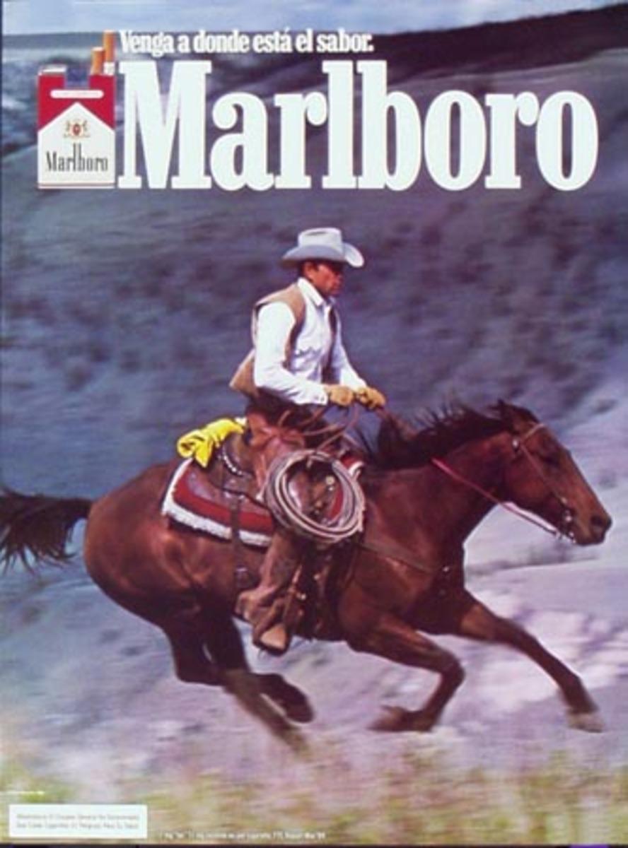Marlboro Cigarette Cowboy  Original Vintage Advertising Poster Venga a Donde Esta el Sabor rider