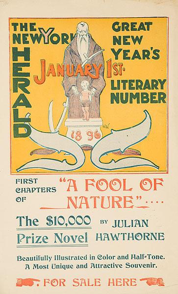 The New York Herald Jan 1, 1896 Original American Literary Poster A Fool of Nature
