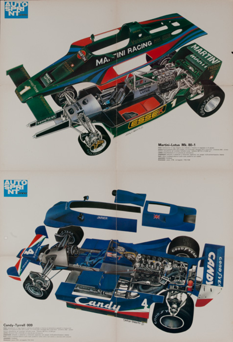 AutoSprint Original FI Racing Poster, Matini-Lotus Mk 80-1 and Candy-Tyrrell 009