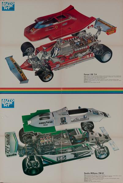 AutoSprint Original FI Racing Poster, Ferrari 312 T.4 and Saudia-Williams FW 07