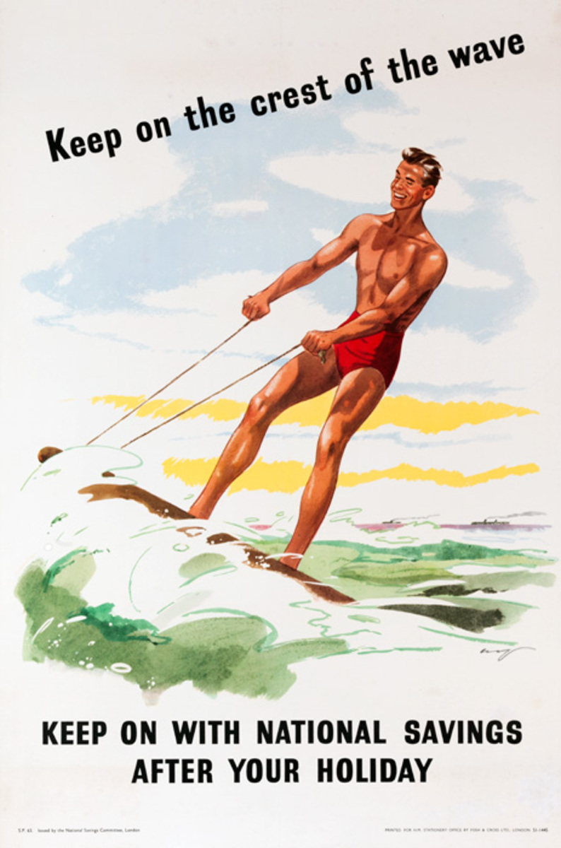 Keep on the Crest of the Wave Original British Savings Poster Surfer