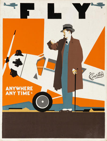 Fly Curtiss Anywhere Anytime, Original American Aviation Poster