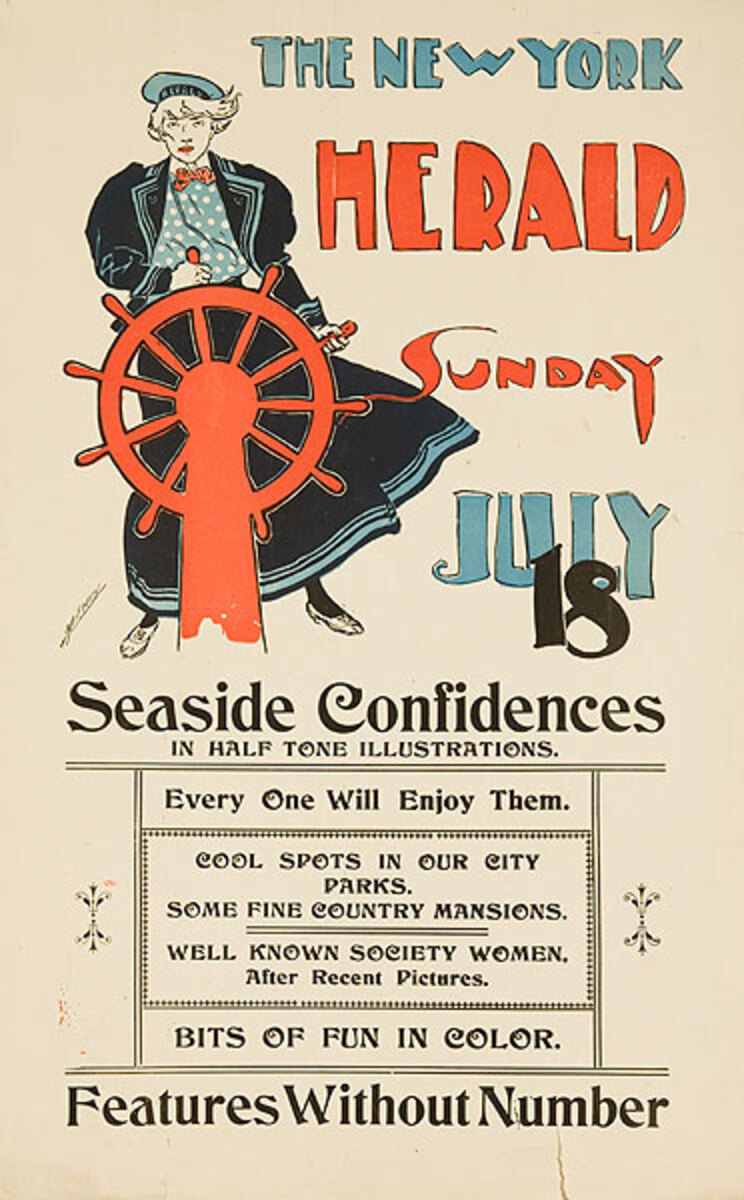 New York Herald July 18 Original American Literary Poster