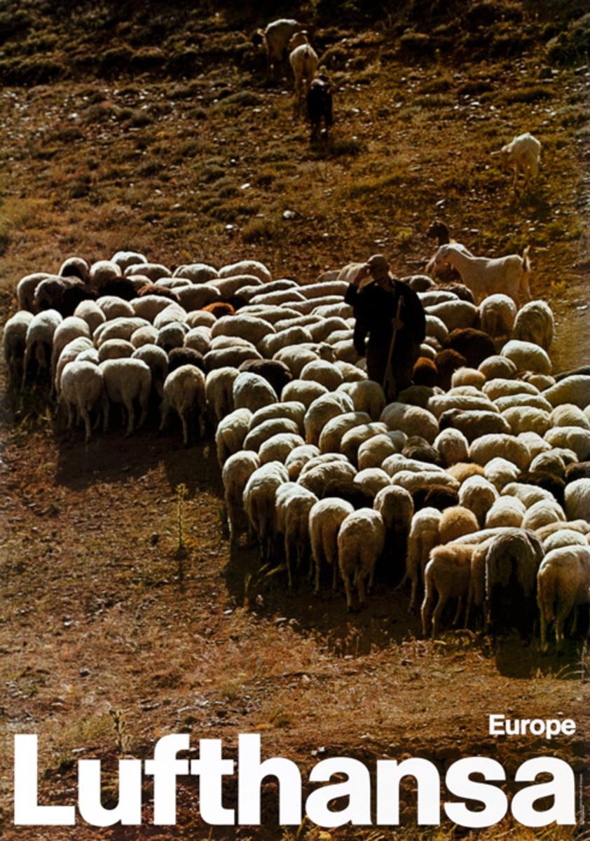 Lufthansa Airlines Original Travel Poster, Europe sheep