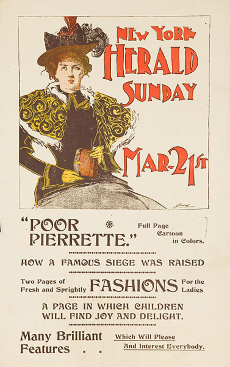 The New York Herald Mar. 21st  Original American Literary Poster Poor Pierrette