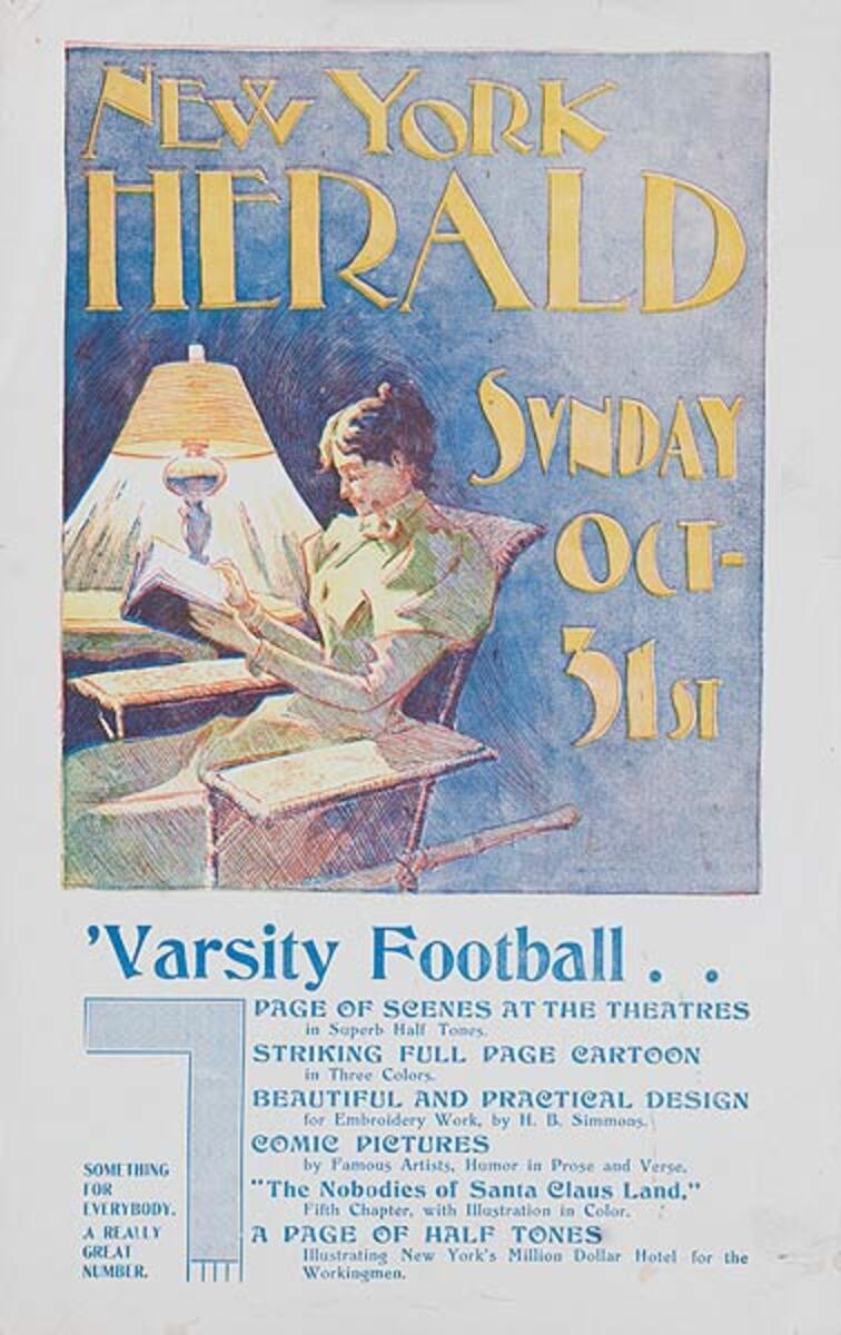 New York Herald Varsity Football Original American Literary Poster