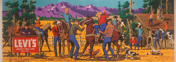 Original Huge Levi's Advertising Poster, Dude Ranch