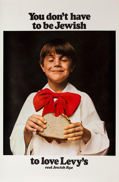 You Don't Have to Be Jewish To Love Levy's Rye Bread Original Vintage Advertising Poster, Boy in Red Tie
