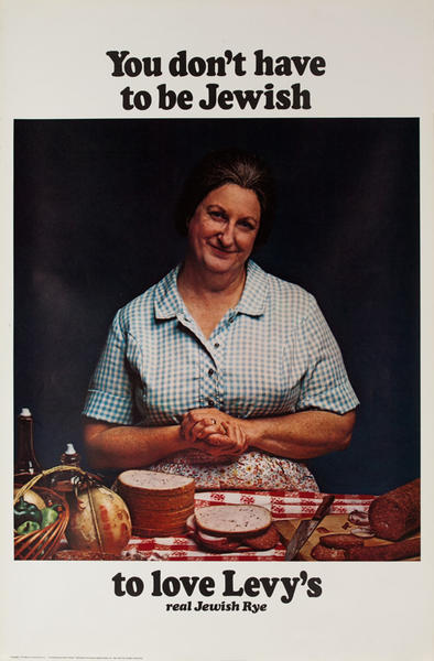 You Don't Have to Be Jewish To Love Levy's Rye Bread Original Vintage Advertising Poster, Italian Mother