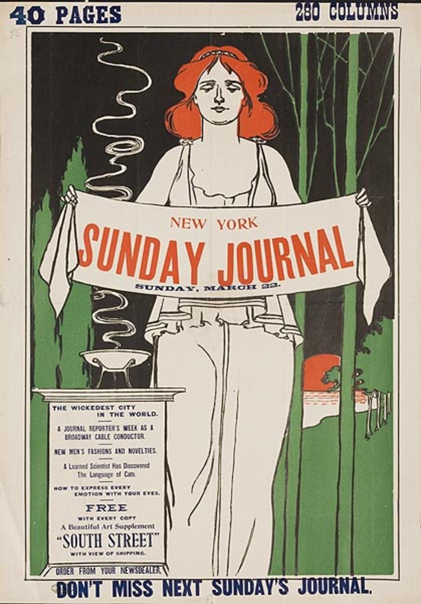 New York Sunday Journal Original American Literary Poster