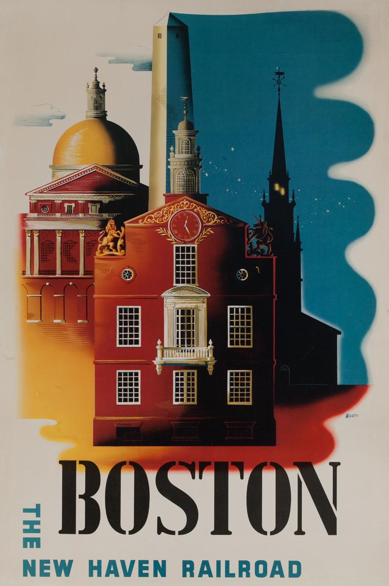 Boston The New Haven Railroad Original Travel Poster