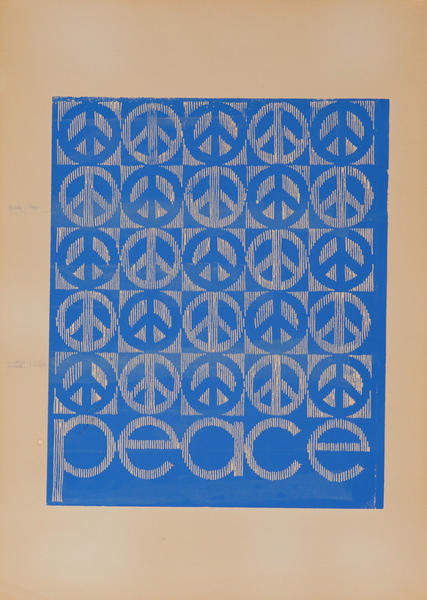 Original Vintage Anti Vietnam War Poster, Blue Peace Signs