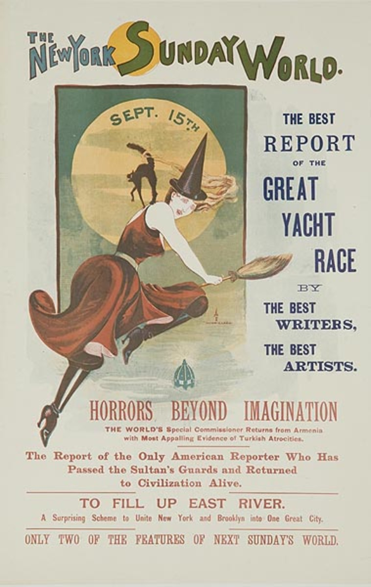 New York Sunday World  Original American Literary Poster Sept 15 witch and cat