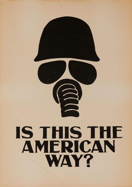 Original Vintage Anti Vietnam War Poster, Is This the American Way? Gas Mask