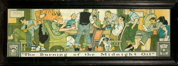 The Burning of the Midnight Oil, Original Turn of the Century Print