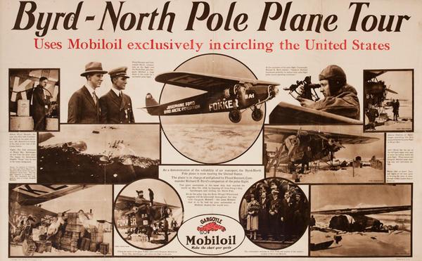 Byrd - North Pole plane Tour Original Mobil Oil Advertising Poster