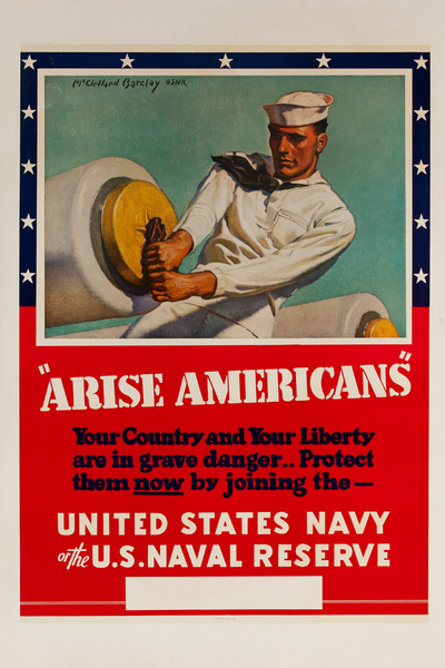 Arise Americans Original WWII Navy and Naval Reserve Recruiting Poster