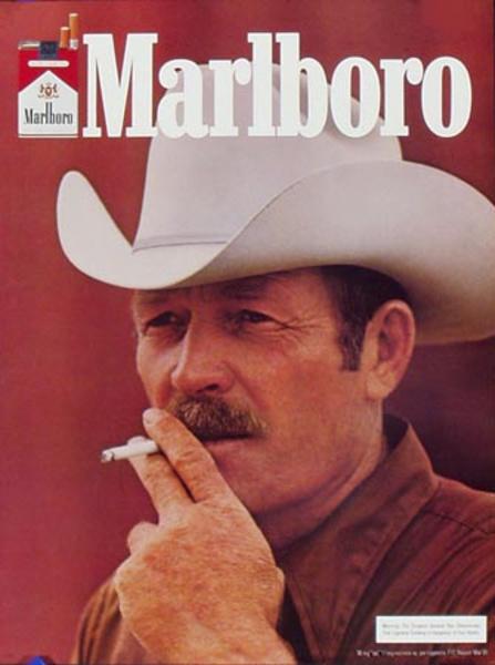 Marlboro Cigarette Cowboy Original Vintage Advertising Poster portrait rust backround