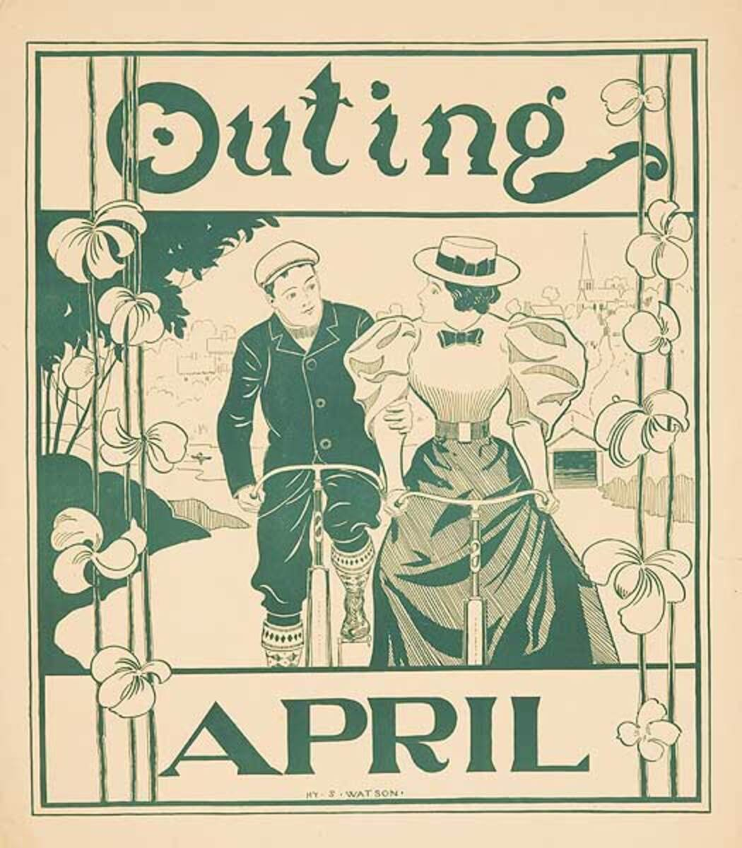 Outing Magazine April Bicycle Riders American Literary Poster