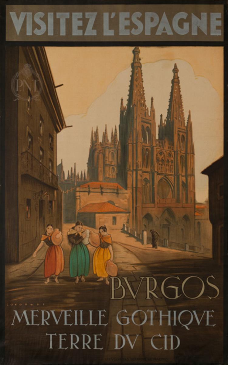 Visitez L'Espagne Burgos Original Spanish Travel Poster