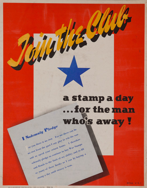 Join The Club, a Stamp a Day ... For the Man Who's Away Original American WWII Home Front Poster